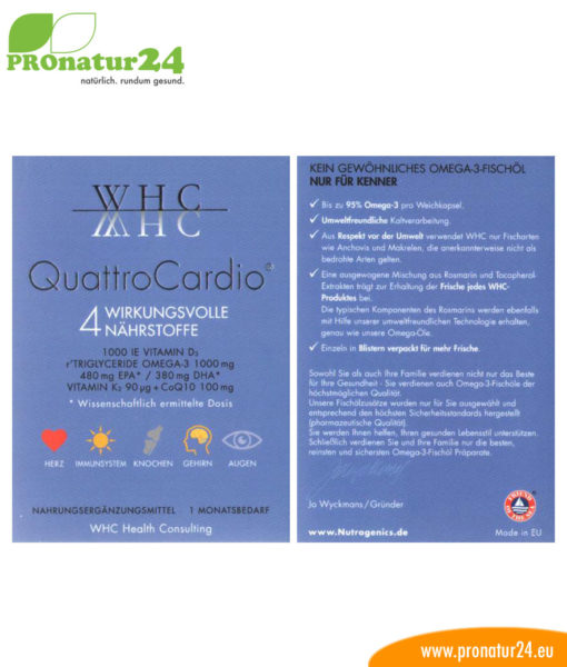 WHC Quattro Cardio (OMEGA-3 fatty acids, vitamin D3, K2 and Q10 ubiquinol)
