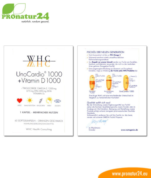 WHC UnoCardio 1000 + vitamin D 1000 (OMEGA-3 fatty acids), 60 Softgels