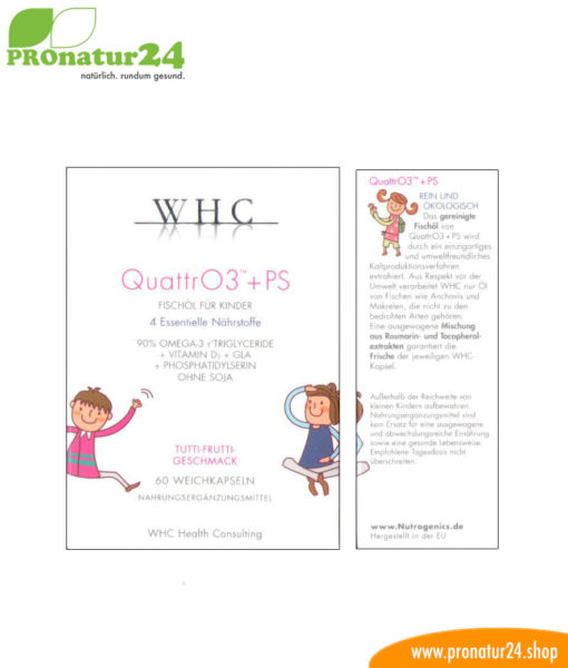 WHC QUATTRO3 + PS – Fish oil complex OMEGA-3 FOR CHILDREN, 60 softgel capsules