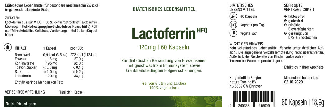 Lactoferrin, 120 mg, dietetic food, Label