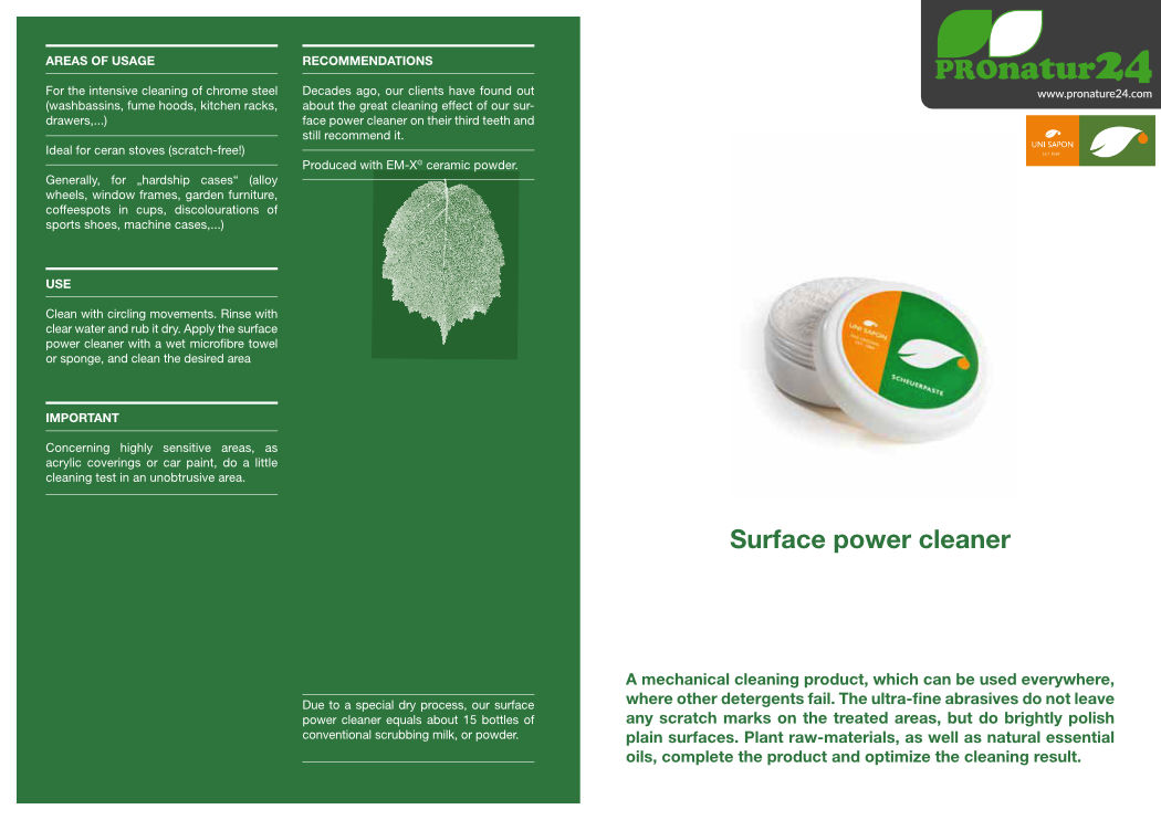Application of surface power cleaner from UNI SAPON