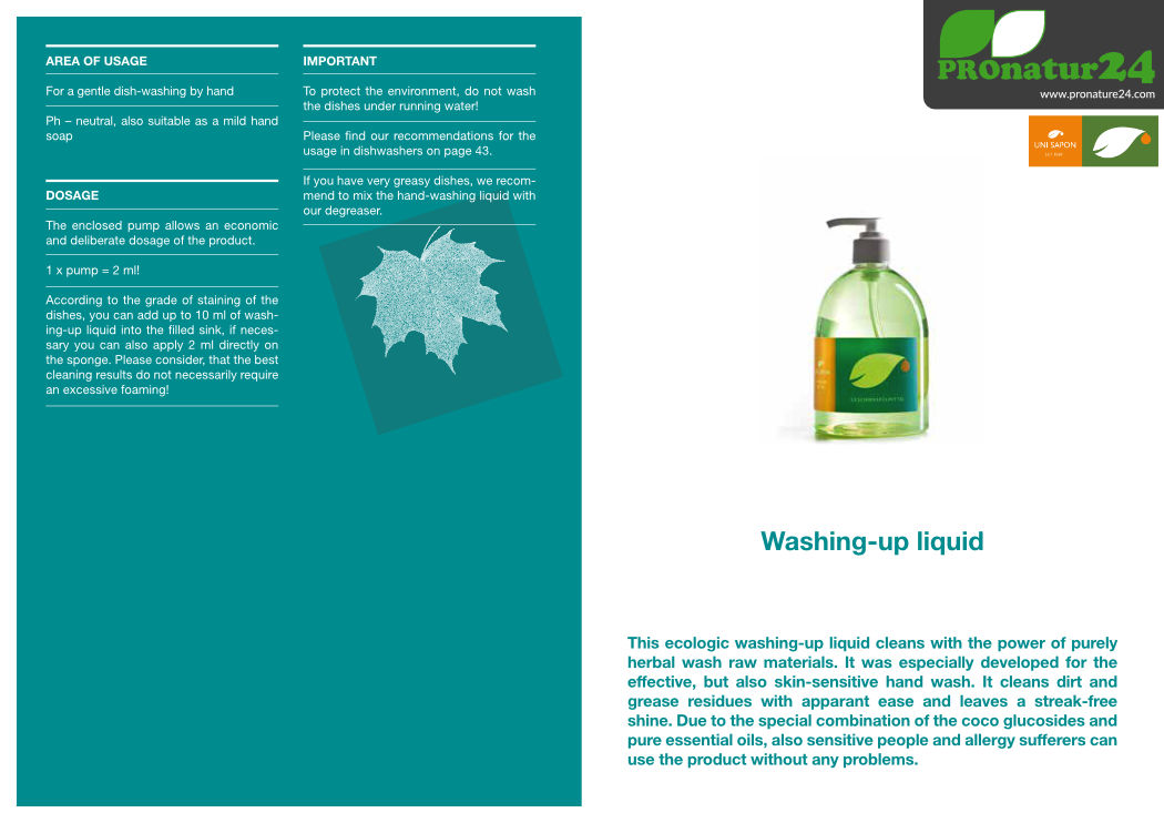 Application of washing-up liquid from UNI SAPON